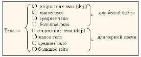 Вторая позиция (два бинарных разряда) кодирует размер тела